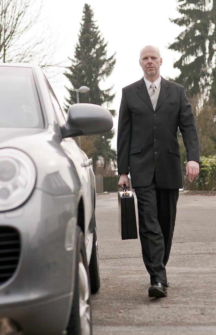 biznesmen Porsche praca samochód