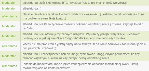 Fragment ciekawej korespondencji znalezionej na jednym z chatów bitcoin