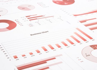 red business charts, graphs, annual report and summarizing backg