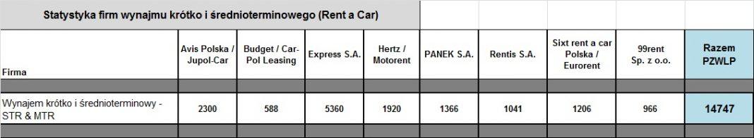 Statystyka firm wynajmu krótko i średnioterminowego (Rent a Car)