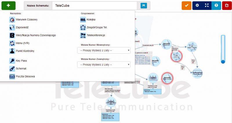 Narzędzie do projektowania-schematu centrali TeleCube