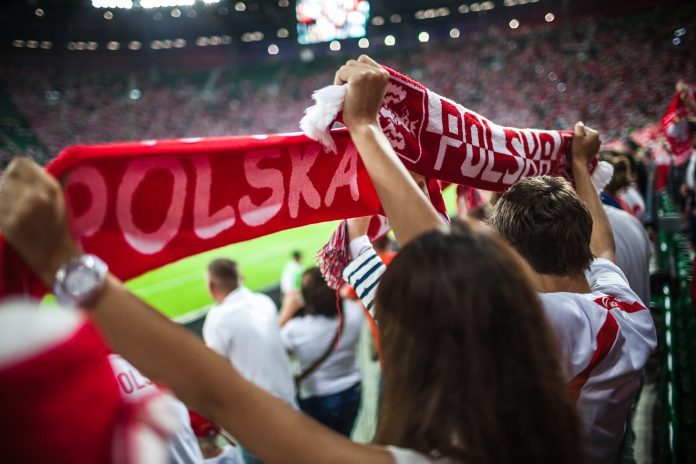 WROCLAW – SEPTEMBER 11: Polish supporters at Stadion Miejski in
