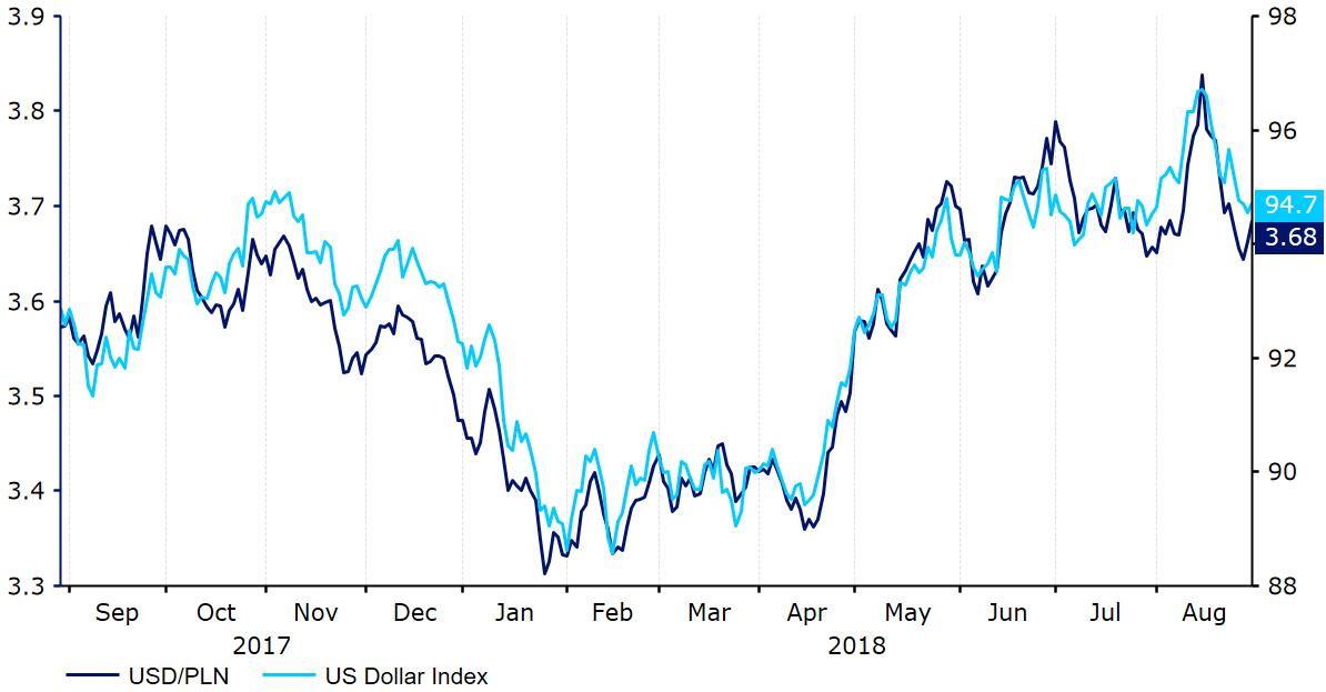 Indeks USD & kurs USD PLN