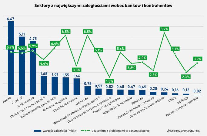 Sektory z największymi zaległościami