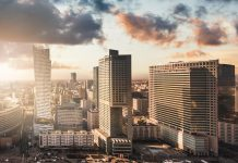 Urban view of the Warsaw skyline. Panoramic cityscape of the city in central Poland.