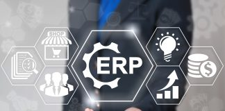 Business erp gear web computer industrial concept. Enterprise resource planning strategy shopping finance internet plan market shop commerce logistics technology