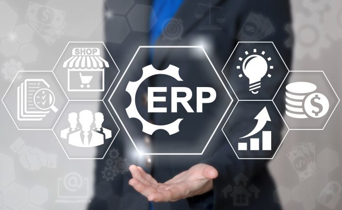 Business erp gear web computer industrial concept. Enterprise resource planning strategy shopping finance internet plan market shop commerce logistics technology