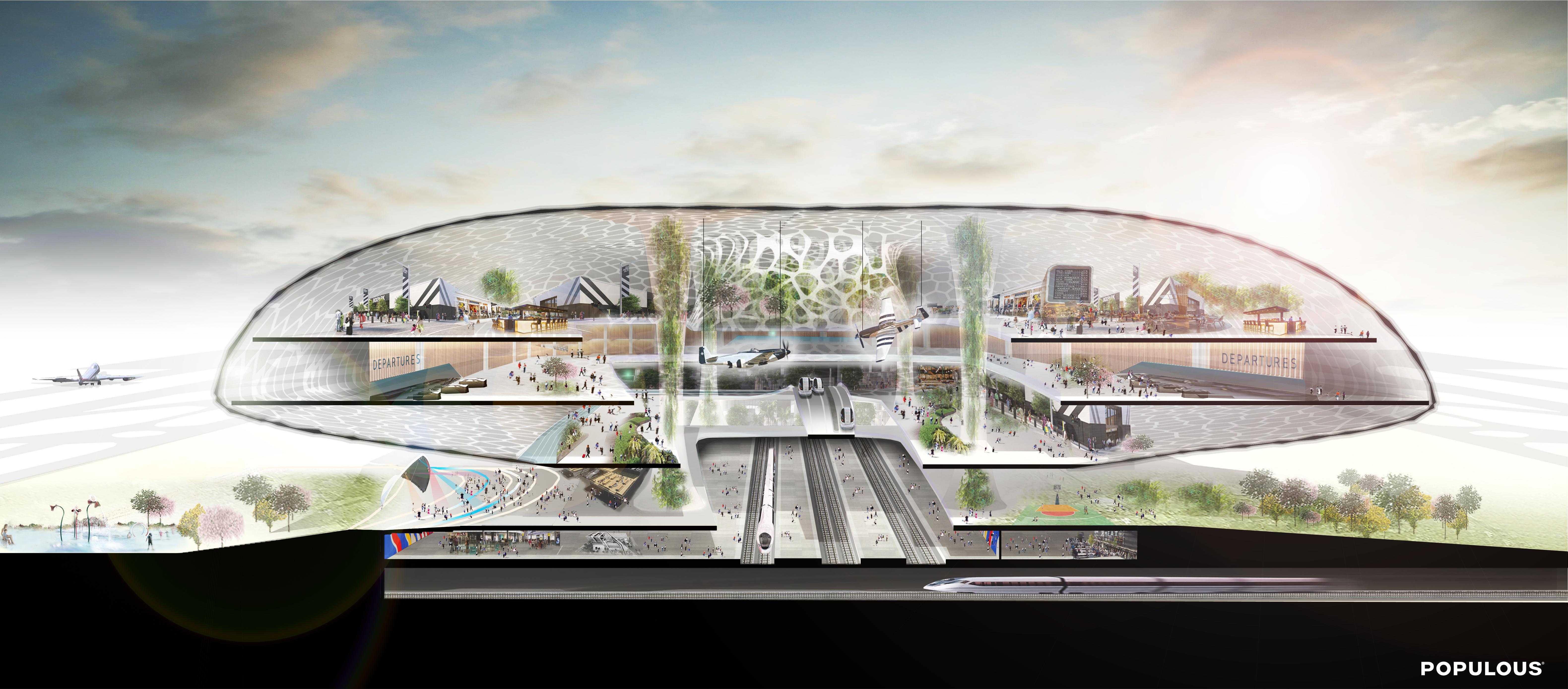 Koncepcja Populous - - Centralny Port Komunikacyjny (CPK; ang. Solidarity Transport Hub, STH)