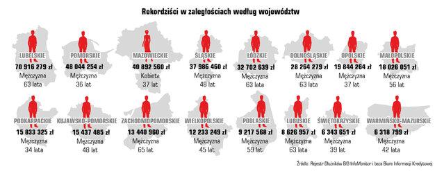 Kwota zadłużenia i liczba dłużników w województwach