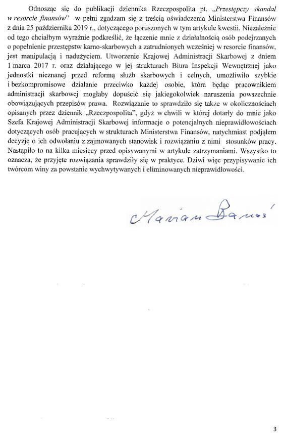 Oświadczenie Prezesa NIK MAriana Banasia