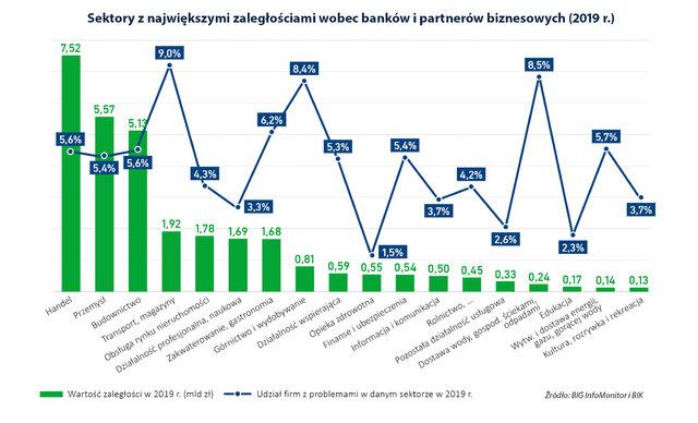 Sektory z największymi zaległościami wobec banków i partnerów biznesowych w 2019 r.