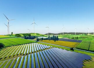 farma wiatrowa panele słoneczne odnawialne źródła energii