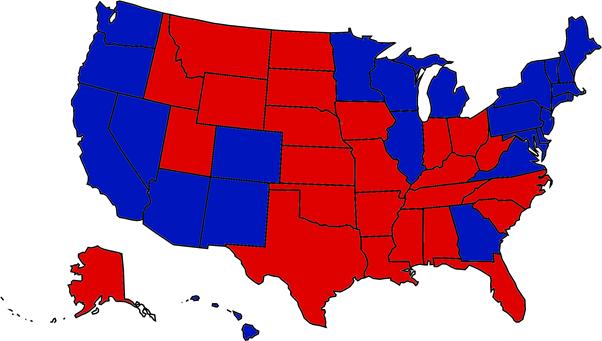 Mapa wyników wyborów prezydenckich w USA w 2020