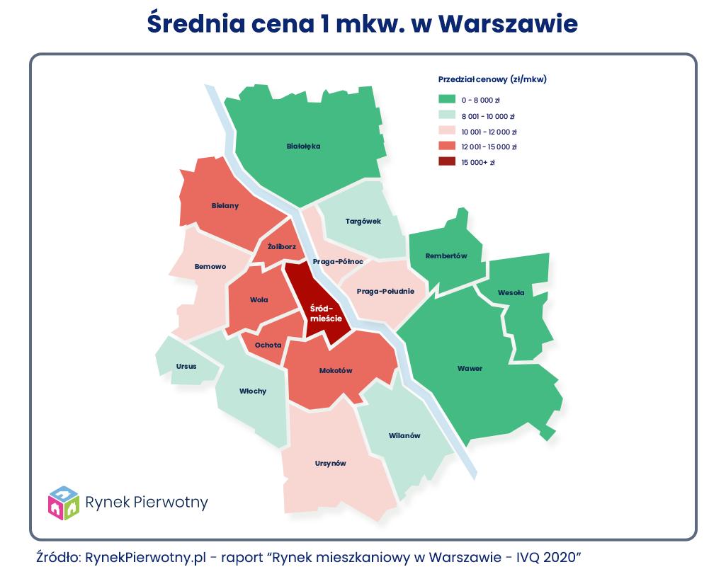 Średnia cena mkw w Warszawie – mapa