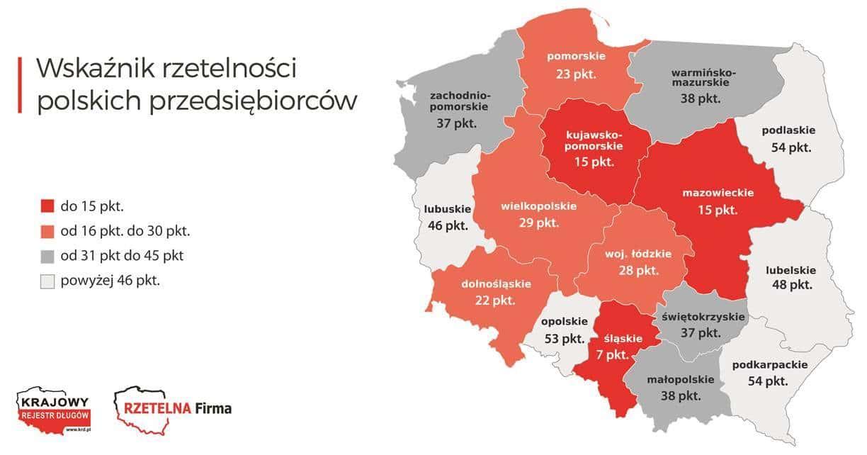 Wskaźnik rzetelności polskich przedsiębiorstw – mapa