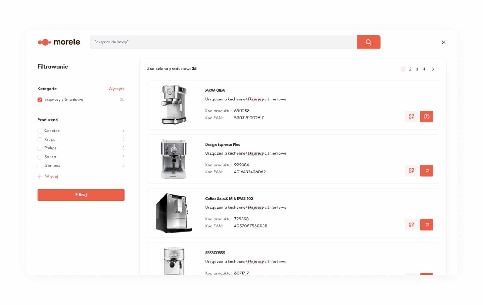 Wygodne filtrowanie i wyszukiwanie produktów w katalogu