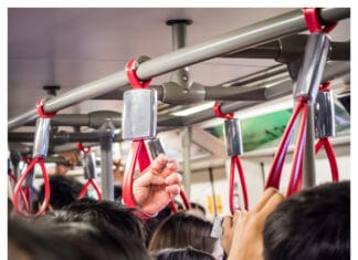 Crowded people in the mass public transportation